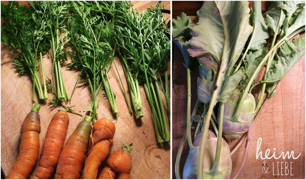 Karottenkraut und Möhrenblätter als Zutat für grüne Smoothie